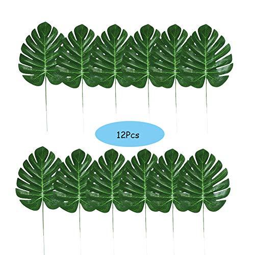 Weanty 12 künstliche tropische Blätter künstliche Palmenblätter hawaiianische Luau Party Dschungel Strand Themendekoration für Geburtstag, Hochzeit, Abschlussball, Veranstaltungen, Grillpartys (Für Geburtstag 40. Mittelstücke)