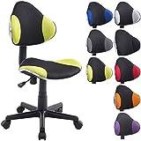 CLP Silla de oficina BASTIAN, silla regulable en altura entre 39 - 51 cm, asiento giratorio 360°, sin reposabrazos, diseño moderno, carga máxima posible: 100 kg negro/verde