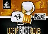 GK guanto Kings Lace Up da boxe in pelle bovina colore bianco panna e oro, Uomo, 12oz