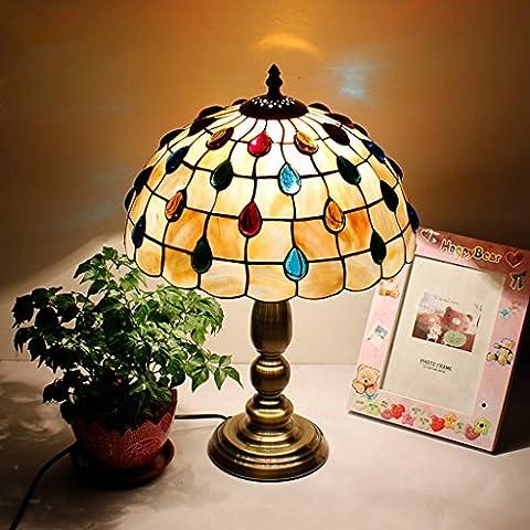 12 pollici europeo Pastorale Style Conchiglie nozze Illuminazione Desk Lamp bedroom bedside Studio American Country Living Room Luci