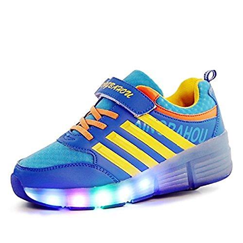 Kischers bambino led scarpe con rotelle, singola rotelle lampeggiante sneaker per bambina e uomo, outdoor sneakers (31, blu)