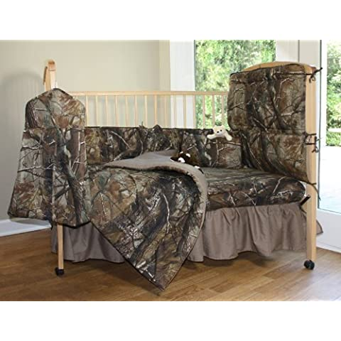Realtree All Purpose Camo - 6 Piece Crib Set includes (Crib Fitted Sheet, Crib Bumper Pad, Crib Headboard Pad, Crib Comforter, Crib Bedskirt and Crib Diaper Stacker)- Save Big By Bundling! by Realtree