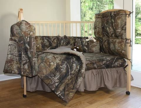 Realtree All Purpose Camo - 6 Piece Crib Set includes (Crib Fitted Sheet, Crib Bumper Pad, Crib Headboard Pad, Crib Comforter, Crib Bedskirt and Crib Diaper Stacker)- Save Big By Bundling! by