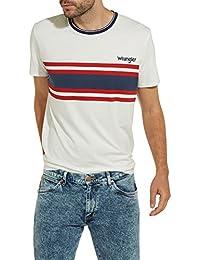Wrangler Men's Men's Off White Striped Regular Fit T-Shirt 100% Cotton