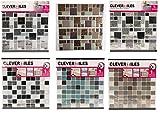 4 x Fliesen-Aufkleber,25,4cm lang x 6,3cm breit, wiederverwendbar, Glitzer-Mosaik-Fliesen-Aufkleber, selbstklebend, in silber-grau, Chrom, glitzernd, dunkelgrau, Dekoration für schwarze, weiße usw. Keramik-Wand-, Bodenfliesen, abziehen und aufkleben, verwandelt und erneuert Ihre Wand und spart Geld, für Ihr Badezimmer, Küche, Wand, Boden