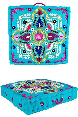 Orientalischer eckiger pouf aus Baumwolle 50x50 cm inklusive Füllung | Marokkanisches Sitzkissen Sitzpouf Kissen eckig Devdan -3- | Orientalisches eckiges Yogakissen Meditationskissen bestickt -