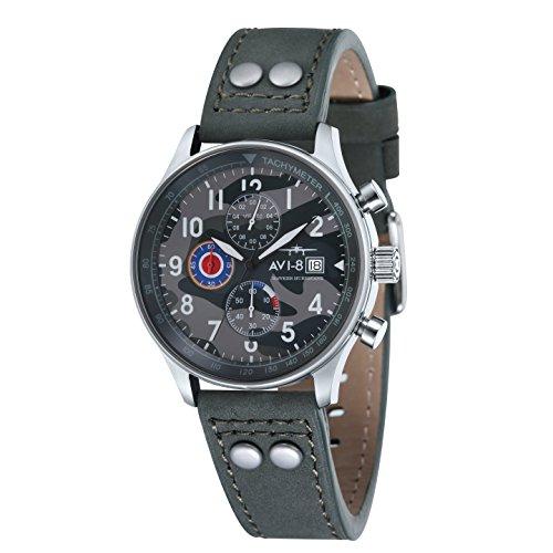 Reloj de cuarzo para hombre AVI-8 Hawker Hurricane con esfera analógica multicolor y correa de cuero verde AV-4011-0A