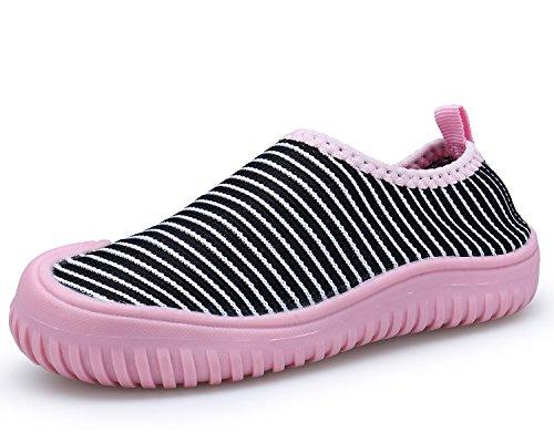 Bdawin Kinder Jungen Mädchen Baby Turnschuhe Schlüpfen Atmungsaktiv Sneaker Schuhe für Gehen Laufen,59 PinkStripe EU24