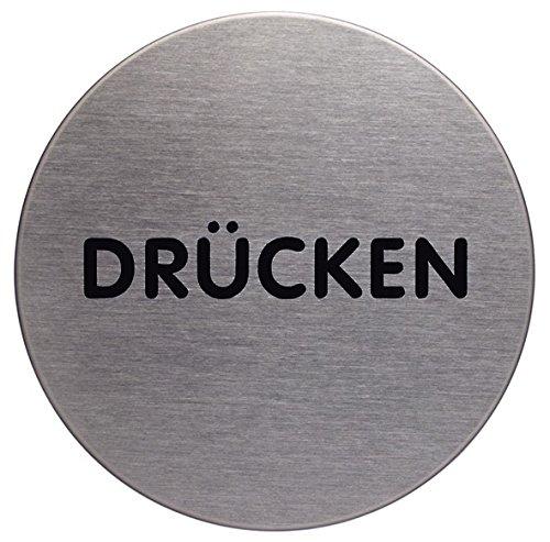 Durable 490061 Türschild Picto rund (Drücken, 65 mm) metallic silber -