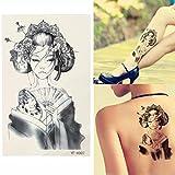Nuovo Disegno Giappone Geisha Girl Tattoo, Sticker Tatuaggio Stile Estivo, Manica Braccio Corpo Sexy, Tatuaggio Falso Impermeabile Lady 19X12Cm4Ps