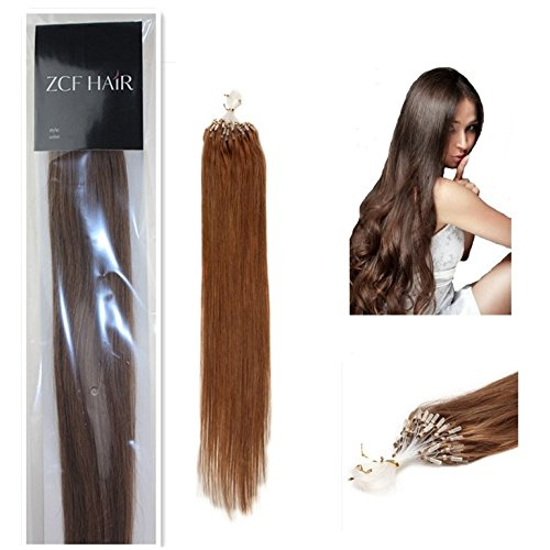 Style 18'' Easy Loops Micro Rings Beads Tipped 100% Real Human Hair Extensions Straight Hair Color 10 Medium Ash Brown Beauty Design Salon by COOL-BEAUTY