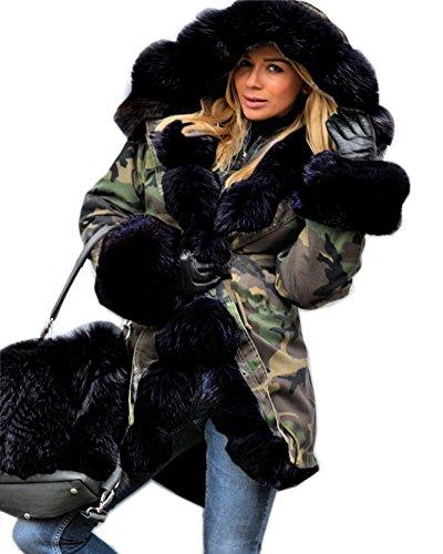 Aofur Damen Wintermantel Jacke Kunstfell Winterjacke Lange Kapuze Parka Elegant Jacke 36 38 40 44 44 46 48 50 (DE 50 /Tag XXXL, Tarnung Schwarz)