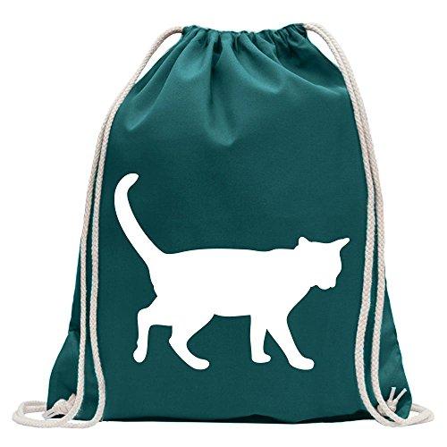 KIWISTAR - Katze Turnbeutel Fun Rucksack Sport Beutel Gymsack Baumwolle mit Ziehgurt Petrol
