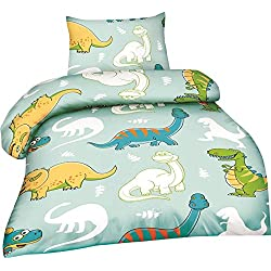 optidream microfibra baby cama de 2piezas Edredón de 100x 135cm almohada de 40x 60cm de dinosaurios azul