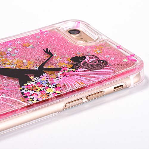 Voguecase® Pour Apple iPhone 7 4,7, Luxe Flowing Bling Glitter Sparkles Quicksand et les étoiles Hard Case étui Housse Etui(Fille papillon-Or) de Gratuit stylet l'écran aléatoire universelle Fille papillon-Pink