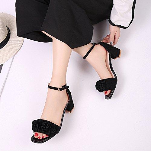 KHSKX-- Tacchi In Estate Le Scarpe Con Una Parola Coreana Piazza Fibbia Fiore Sandali Con Tacchi Femminili Peep Toe. black