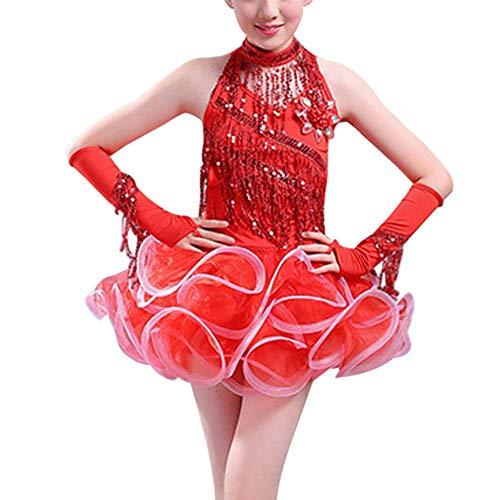 Gtagain Tanzen Kostüm Kleider Mädchen - Kinder Pailletten Fransen Rock Ballsaal Performance Tanzkleidung Latin Salsa Tango Samba Rumba Dancewear Elegant