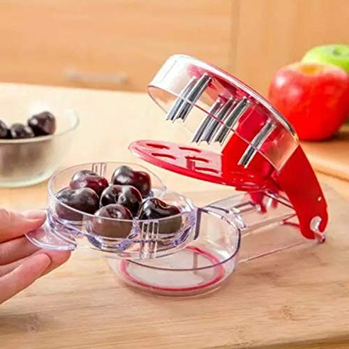 Kucosy Cherry Pitter Cherry Stone Seed Remover Tool with Silicone Grips Creative Kitchen Gadget Remove Cherry Pit Quick for Cake Jam Baking Cooking Olive Pitter