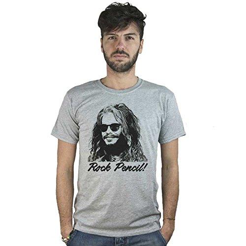 T-Shirt Aerosmith Rock Pencil, maglietta grigia Disegno Steven Tyler, Musica