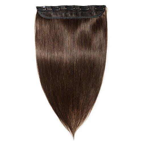 Clip in extensions echthaar Haarverlängerung 100% Remy Echthaar - 1 Stück (45cm-50g #2 dunkelbraun)