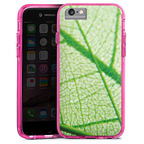 Apple iPhone 6s Bumper Hülle Bumper Case Glitzer Hülle Blatt Leaf Pflanze Bumper Case transparent pink