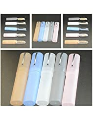 Distinct® Los vidrios de lectura plásticos portables de 2pcs forman a vidrios presbípedos de los ancianos con almacenar el color al azar de la caja (+4.00)