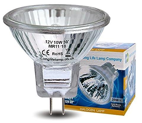 5 x MR11 10w Halogen Light Bulbs Lamp 12v Brand LONG LIFE LAMP CO
