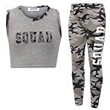 New Girl's Brooklyn 85 New York Squad NYC Crop Top Leggings 2 Piece Set Age 7-13 Years (9-10 Years, Squad Grey Camo)