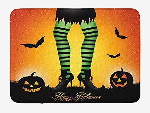 OQUYCZ Halloween Bath Mat, Cartoon Witch Legs with Striped Leggings Western Concept Bats and Pumpkins Print, Plush Bathroom Decor Mat with Non Slip Backing, 23.6 W X 15.7 W Inches, Multicolor -