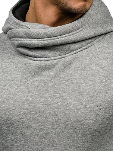 BOLF �?Felpa con cappuccio �?Pullover �?Sweat-shirt �?Uomo Grigio-Nero