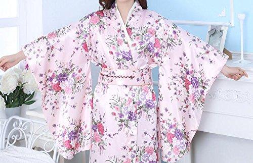 LJ&L Temperamento signore traspirante moda kimono pigiama confortevoli setosa sciolti veste accappatoio di alta qualità,white,one size Pink