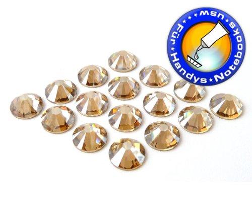 2058 Crystal (50 Stück SWAROVSKI ELEMENTS 2058 XILION - KEIN Hotfix, Farbe Crystal Golden Shadow, SS5 (Ø ca. 1,8 mm), Strass-Steine zum Aufkleben)