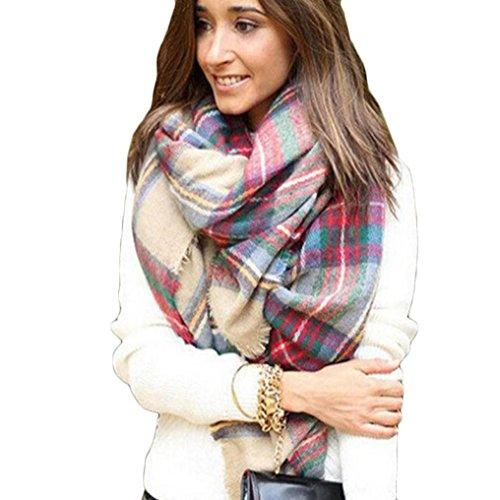 Tonsee® Enveloppe d écharpe de châle à carreaux Cozy Blanket Vérifié femmes  Lady Tartan 048ca8235e3