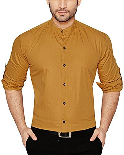 Global Rang Men's Cotton Chinese Collar Shirt Beige_46