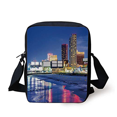 CBBBB City,Resort Casinos on Shore at Night Atlantic City New Jersey United States,Violet Blue Pink Yellow Print Kids Crossbody Messenger Bag Purse