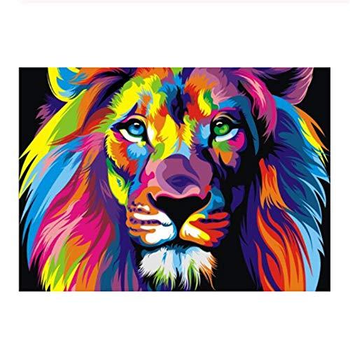 w15Y8 Aquarell-Löwe-Pop-Art-Plakate und Drucke abstraktes Tier-Segeltuch -kein Rahmen E 60X90Cm -