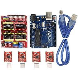 Tarjeta de expansión CNC Shield v3.0+ Uno R3tarjeta para Arduino + A4988controlador de motor paso a paso con kit disipador de calor para Arduino de PoPprint.