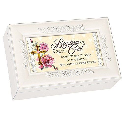 Baptism of a Sweet Girl Cottage Garden Glossy Ivory Finish with Rose Trim Petite Jewelry Music Box - Plays Song Jesus Loves Me - Rose Finish