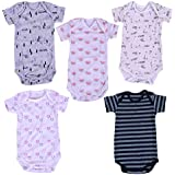 MOM'S HOME Soft Organic Cotton Onesie/Bodysuit for Baby (Multicolour, 0-3 Months)- Pack of 5