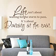 Wall Decal Quote Life is about Dancing In The Rain Vinyl Wall Art Quote Decal Sticker