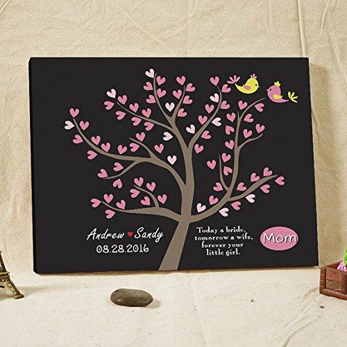 Personalizzato Libro degli ospiti Albero Alternative Tela Libro degli ospiti per matrimonio personalizzato regalo di nozze regalo di anniversario per mamma Cuore Foglie libro degli ospiti Love Birds 70foglie (disponibile per 100foglie), Libro per gli ospiti a firmare