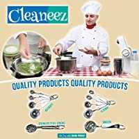 Stainless Steel Measuring Spoons Set - Smooth Handle - Elegant and Decorative Kitchen Utensils - For All Your Cooking and Baking Needs - Best One Year Guarantee (Made by Cleaneez)