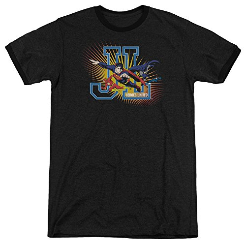 Justice League - Männer Helden United Ringer T-Shirt, Small, Black (Ringer Held)