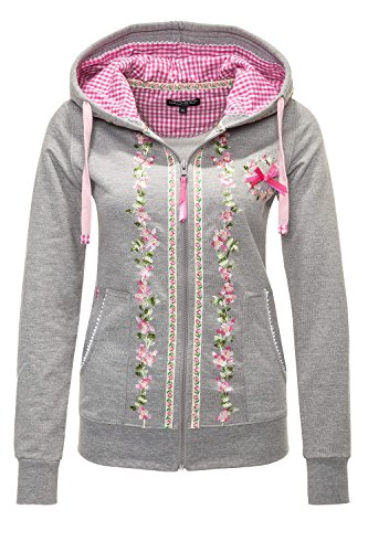 Hachiro Damen Sweatjacke Hoodie Sweatshirt Pullover (L, Light Grey Melange)