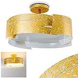 Deckenleuchte Novara in Gold mit tollem Wellen-Design - Designer-Leuchte für das Esszimmer – Küche – Metall-Leuchte mit Glas-Schirm für LED – Eco Halogen – Energiesparlampen