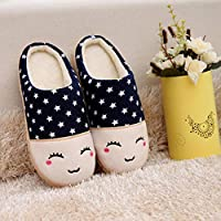 Ameginer Novelty Slippers Women Memory Foam Ladies Cotton Slippers Couple Winter Cartoon Smiley Slippers Navy 42-43