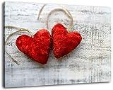 Kuschlige Herzen Format:80x60 cm Bild auf Leinwand bespannt, riesige XXL Bilder komplett und fertig gerahmt mit Keilrahmen, Kunstdruck auf Wand Bild mit Rahmen, günstiger als Gemälde oder Bild, kein Poster oder Plakat