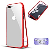 Hülle für iPhone 7Plus/8Plus,[Magnetische Adsorption Technologie] [Panzerglas Rückseite Schutzhülle ]Dünn Komplettschutz Handyhülle für iPhone 7Plus/8Plus-Transparent Rot
