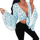 FRAUIT Damen Bodysuit Langarm Floral Bluse V-Ausschnitt Chiffon Hemd Verband Crop Tops Chiffon T-Shirts Lose Weich Bequem Kleidung Overall Oberteile