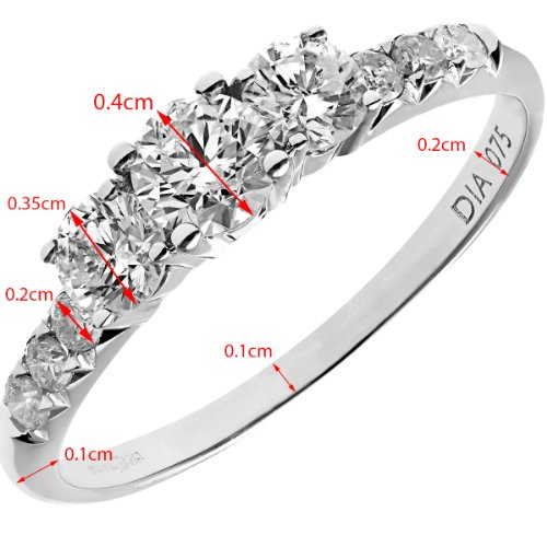 Naava Women's 0.50 ct IJ/I Certified Round Brilliant Diamonds 18 ct White Gold Trilogy Engagement Ring – Size: N